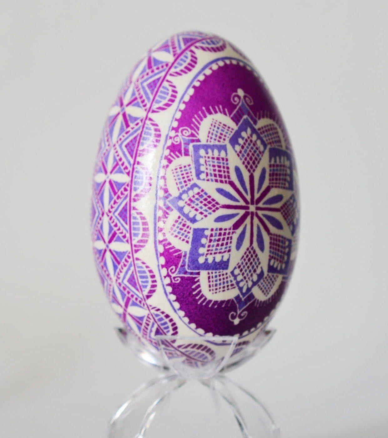 Goose egg Pysanka easter egg, Amethyst gift for February birthdays