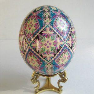 blue pysanka ostrich egg