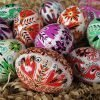 hand painted decorative Easter eggs Ukrainian pysanky traditional patterns