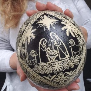 Nativity ostrich egg pysanka