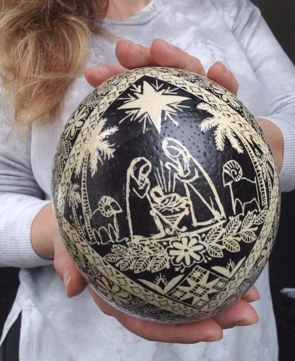 Nativity ostrich egg pysanka