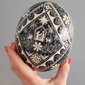 nativity ornament ostrich eggshell