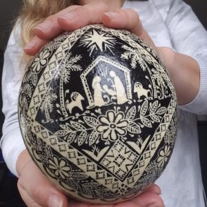 ostrich pysanka black and white
