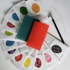 12 dyes kistka tool beeswax