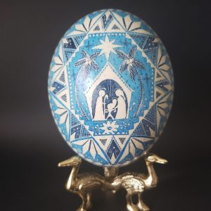 blue ostrich egg nativity stable set hand painted